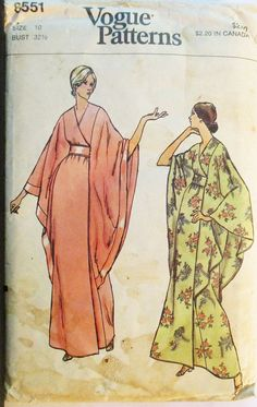 1970s Vintage Sewing Pattern Vogue 8551 Misses Robe Pattern Caftan Pattern Size 10 Bust 32 1/2 by SewYesterdayPatterns on Etsy