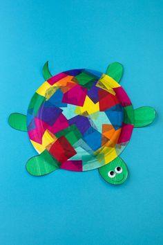 Tissue Paper and Paper Plate Turtle Craft Tissue Paper Crafts Seidenpapier und Pappteller Turtle Cra Paper Plate Crafts For Kids, Frog Crafts, Tissue Paper Crafts, Animal Crafts For Kids, Paper Crafts For Kids, Easy Crafts For Kids, Easy Diy Crafts, Summer Crafts, Toddler Crafts