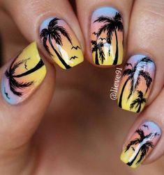 Nails, california nails, tropical nail designs, holiday nail designs, h Tropical Nail Designs, Beach Nail Designs, Cute Nail Designs, Acrylic Nail Designs, Sunset Nails, Beach Nails, Summer Acrylic Nails, Cute Acrylic Nails, Art Nails