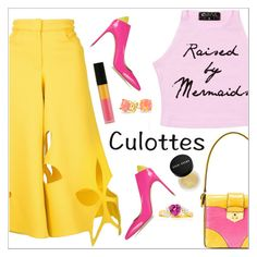 """""""Culottes"""" by simona-altobelli ❤ liked on Polyvore featuring Rosie Assoulin, Prada, Brian Atwood, Le Métier de Beauté, Bobbi Brown Cosmetics, Bling Jewelry, pinkandyellow, polyvorecontest and culottes"""