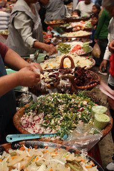 traditional foods ~ Salsas at the Cholula market, Puebla, Mexico