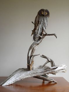 "Made from driftwood collected in the Rangeley Lakes Region.  Approx. 36"" tall.  The eyes are made from Yellow Heart and Ebony."