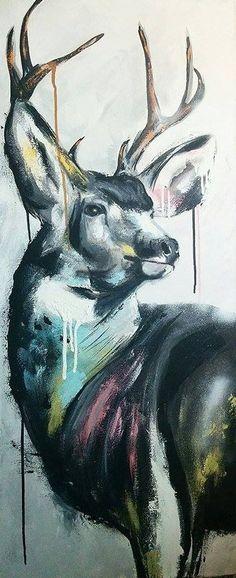 """""""Baboune"""" 16X40. Acrylique sur toile. Laurie Marois artiste-peintre."""