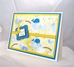 Welcome baby card whale rainbow sunshine by QuirkynBerkeleyCards, $6.00