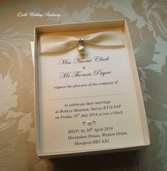 Pearl Drop Wedding Invitation. Luxury Boxed Wedding Invitation. Pearl and… by… QuillsWeddingFavours on Etsy www.quillsweddingstationery.co.uk https://www.facebook.com/pages/Quills-Wedding-