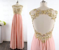 Peach Long Prom Dresses Custom Peach Lace Straps by SarNDresses