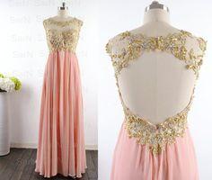 Peach Long Prom Dresses Custom Peach Lace Straps von SarNDresses