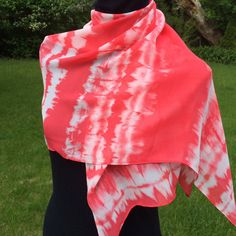 Tie dye red chiffon scarf infinity scarf loop by SissyandTodo