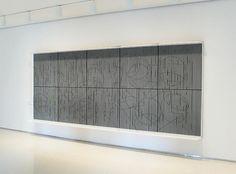 Jesus-Rafael Soto, Escriture, 1984. Wood, aluminum, nylon, 82 3/4 in. x 198 3/4 in. x 14 in.