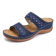 growhairbrasil Flip Flop Sandals, Wedge Sandals, Leather Sandals, Wedge Shoes, Flip Flops, Slide Sandals, Pu Leather, Floral Sandals, Mules Shoes