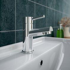 Cruze Contemporary Mono Basin Mixer with Waste - Chrome at Victorian Plumbing UK Bathroom Tapware, Bathroom Sinks, Pipe Sizes, 5 Bar, Basin Mixer Taps, Upstairs Bathrooms, Chrome Finish, Plumbing, Victorian