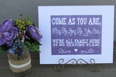 https://www.tradesy.com/weddings/wedding-decorations/rustic-country-purple-burlap-look-set-of-4-signs-for-your-wedding-super-cute-2031952/  #purple #denim #wedding #lavender #purplewedding #lavenderwedding #rustic #cute #love #seatingplan #love #weddingdecor #weddingsigns #seatingplan