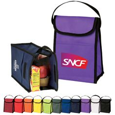 Non Woven Lunch Bag - Eco friendly non woven lunch bag with velcro flap closure.