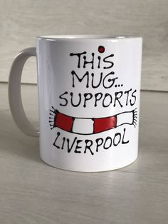 Liverpool football mug. Handmade fun sayings Birthday gift. Father's Day football present. Liverpool Fc Gifts, My Etsy Shop, Football, Mugs, Unique Jewelry, Tableware, Handmade Gifts, Soccer, Kid Craft Gifts