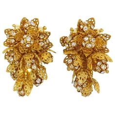 Preowned Lois Ann Cluster Clip On Earrings (£180) ❤ liked on Polyvore featuring jewelry, earrings, brown, dangle earrings, rhinestone clip earrings, vintage clip earrings, long clip on earrings, rhinestone clip on earrings and vintage jewellery
