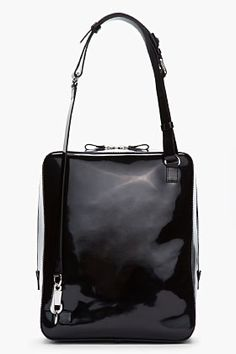 f6ddc9ce620c KENZO Black Patent Leather Messenger Bag Kenzo Clothing