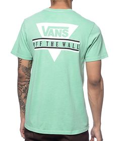 Bring some bright styling to your outfits when you grab the new Triangle 2 t-shirt from Vans. A vibrant mint colorway will add stand out style to any look and boasts a Vans Off The Wall triangle logo graphic on the left chest and back plus a tagless colla