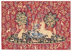 Woven in Belgium History: Sight - Vue is a Belgian jacquard wall tapestry. The artwork is based on a fifth century tapestry from the Medieval Lady and the Unico