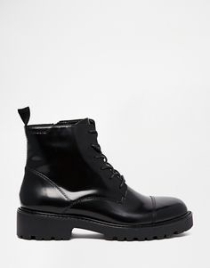 Vagabond Kenova Lace Up Black Polished Leather Ankle Boots