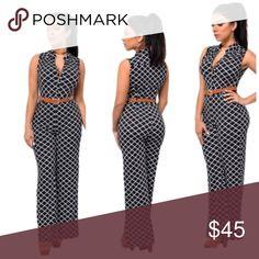 🚨🆕 Wide Leg Jumpsuit with waist belt has button front V neckline, single chest pocket, wide-leg design and side pockets for the pants. Comes with brown belt 🔺M(8-10) 🔺(L 12-14) Pants
