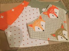 Set of 4 baby bandana bibs. Fox and spots ����baby shower gift