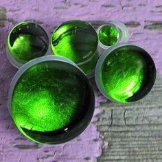 Metallic Green Single Flare Glass Plugs
