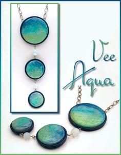 Veesuel (Vee), Aqua Necklace, polymer beads