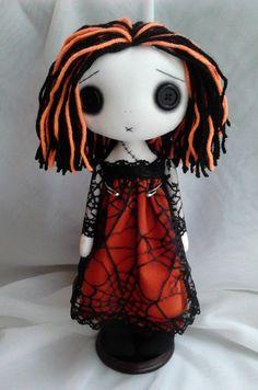 Halloween Gothic Art Rag Doll Hayley by ChamberOfDolls on Etsy