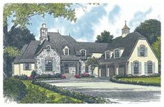 House Plan Description    Full of amenities, this French country home includes a screened porch, an office, a study and four fireplaces. The luxurious master suite includes dual baths, two walk-in closets and a separate dressing area. The garage is equipped with stairs that lead to the bonus area above.