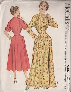 35d3460e44 Classic I Love Lucy Robe Housecoat Hostess Gown Pattern McCalls 9557 Two  Lengths Figure Flattering Style Bust 40 Vintage Sewing Pattern