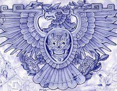 Blue Eagle by Mouse Lopez Aztec Bird Symbol Giclee Art Print #OutsiderArt