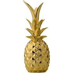 Bloomingville Pineapple Decoration in Gold ($62) ❤ liked on Polyvore featuring home, home decor, bloomingville, gold home decor, pineapple home decor and gold home accessories