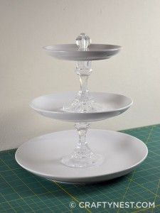 Large DIY tiered jewelry tray - made from plates & glass candlesticks (dollar tree for candlesticks, dollar store or thrift store for plates), Can also be used as cupcake/appetizer display or displaying decorating accesories