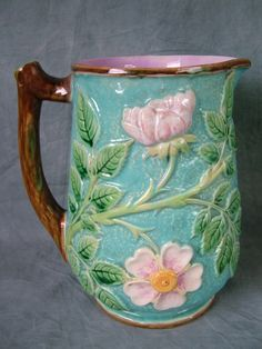 George Jones Majolica wild rose pitcher.