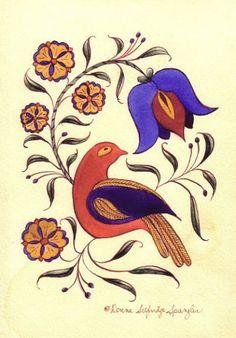 """Blue Flower"" fraktur designed by Donna Selfridge Spangler, Sunbury, Pennsylvania. Image © Donna Selfridge Spangler."