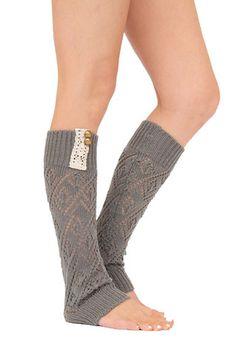 Knit Laced Leg Warmer Leggings (Charcoal) – Niobe Clothing