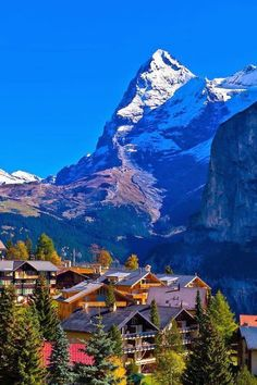 The village of Murrin in the Swiss Alps with the Eiger in the background.