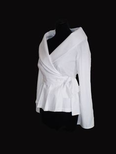Blouses – Wrap White shirt cotton blouse/ – a unique product by Divna-Davidovic…