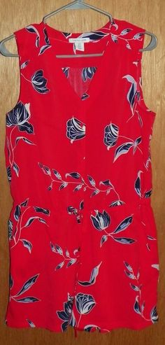 db6e597a0be Tabitha Webb Floral Sleeveless V Neck Romper Size 8 Red and Blue
