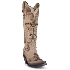 Women's Corral Boots Bone Laser with Studs #G1320