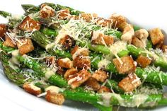 Caesar Asparagus, Low Calorie, Big on Deliciousness! If you love Caesar salad you'll love this skinny one using asparagus. Each serving, 95 calories, 4g fat & 3 Weight Watchers POINTS PLUS. http://www.skinnykitchen.com/recipes/caesar-asparagus-low-calorie-big-on-deliciousness/