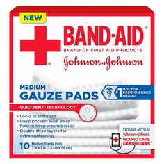 The hospital-grade sterile gauze pads have deep pockets that wick away blood and fluid to keep wounds clean. When using ointment, unique QUILTVENT Technology po Red Cross First Aid, First Aid Supplies, Natural Rubber Latex, Wound Care, Johnson And Johnson, New Bands, Wound Healing, Band Aid, First Aid Kit