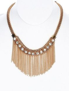 Gold Stone Fringe Bib Necklace from Helen's Jewels