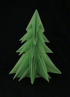 Origami, Photo-diagrams: Abete 2 - Fir tree 2, designed by Francesco Guarnieri, August 2008. Crease Pattern: http://guarnieri-origami.blogspot.it/2012/11/abete-2.html