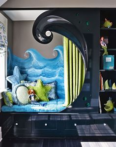 maximize small kids bedroom with alcove bed, and the theme is awesome! House Of Turquoise, Boys Room Decor, Kids Bedroom, Ocean Bedroom, Bedroom Decor, Surfer Bedroom, Bedroom Ideas, Bedroom Nook, Room Kids