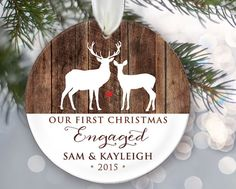 Our First Christmas Engaged Deer and wood Ornament Engagement Ornament Personalized Christmas Ornament Engagement Gift Fiance Gift by LilStinkerDesign