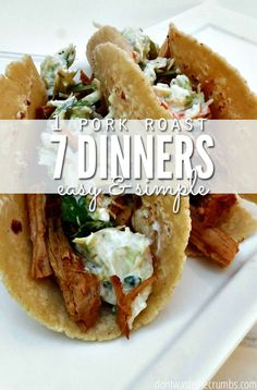 Start with a 5lb pork roast and end up with 7 dinners.  Use these tips for stretching one pork loin into clean eating and easy recipe dinners and feed your family real food on a budget! :: DontWastetheCrumbs.com