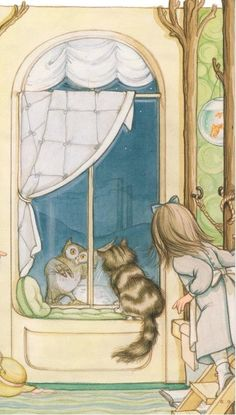 """""""The Owl and the Pussy-Cat"""" by Edward Lear, Hilary Knight Children's Book Illustration, Book Illustrations, Hilary Knight, Owl Books, The Pussycat, Nursery Rhymes, Vintage Children, Alice In Wonderland, Childrens Books"""