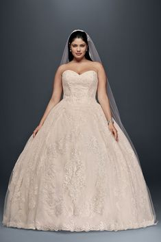 Extra Length Plus Size Beaded Lace Applique Wedding Ball Gown Wedding Dress - Ivory / Whisper Pink, 26W