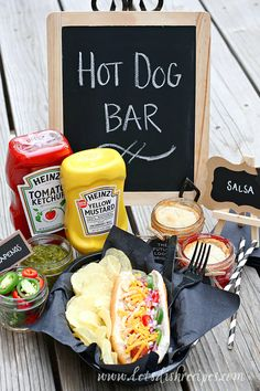 Graduation Party Hot Dog Bar and Mini Mason Jar Pies (Free Printable) | Let's Dish Recipes